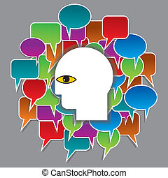 human head and speech bubble