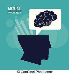 human head brain, mental health mind with arrows