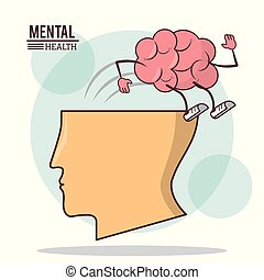 human head brain, mental health with brain activity care