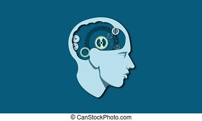 Human head brain with gear animation. Thinking process mind, Education and business concept video