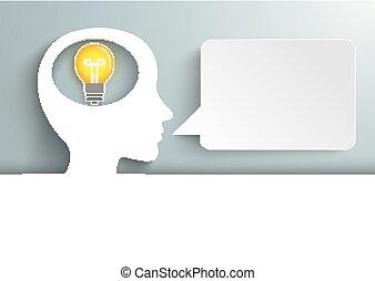 Human Head Cover Bulb Speech Bubble