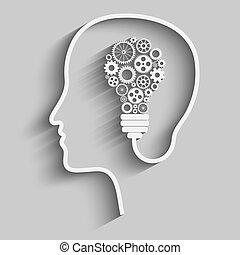 Human head creating a new idea. Creative Idea. vector.