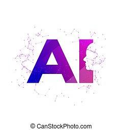 Human head cyber mind digital technology. Cyber brain logo future tech face, Robot artificial intelligence