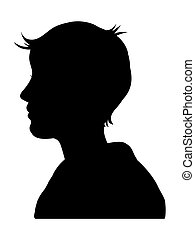 human head - Silhouette of a male or female head on a white...