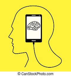 Human head formed from smart phone's USB cable