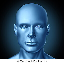Human head frontal view representing a symbol of humanity in the feilds of medicine and mental health as well as healthy lifestyle.