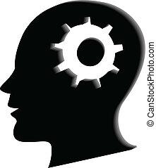 Human head gear 3d logo image
