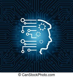 Human Head Icon Over Blue Circuit Motherboard Background...