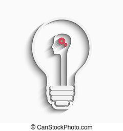 Human head in a bulb creating a new idea. Creative Idea. ...
