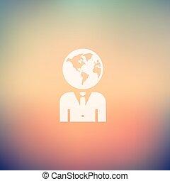 Human head in flat style icon