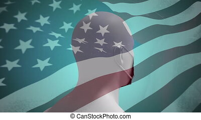 Human head model wearing face mask against US flag waving - ...