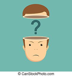 human head open with question mark. Stock vector...