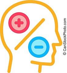 human head plus minus icon vector outline illustration