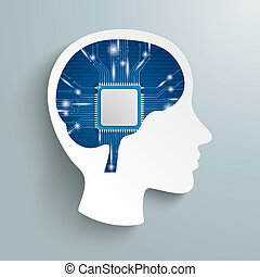 Human Head Processor Brain - Human head with processor brain...
