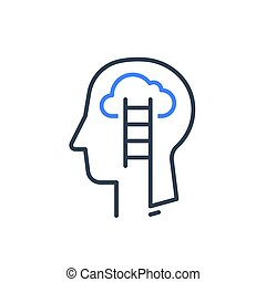 Human head profile and ladder, cognitive psychology or ...