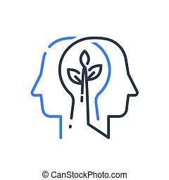 Human head profile and plant stem, cognitive psychology or psychiatry concept, mental health, brain illness, positive thinking, growth mindset, self esteem, personal development, vector line icon