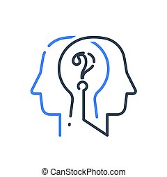 Human head profile and question mark, cognitive psychology ...