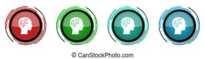 Human head round glossy vector icons, brain, human, circuit set of buttons for webdesign, internet and mobile phone applications in four colors options isolated on white background