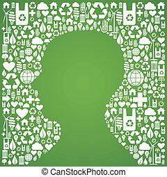 Human head shape over eco icons background