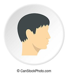 Human head, side view icon circle