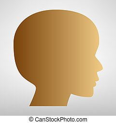 Human head sign. Flat style icon