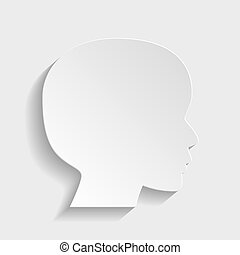 Human head sign. Paper style icon