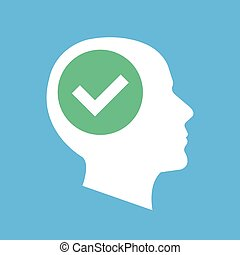Human head silhouette and checkmark