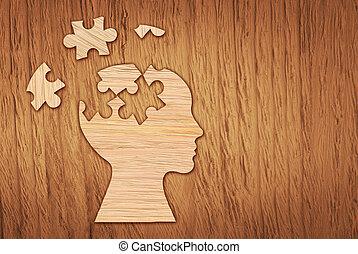 Human head silhouette, mental health symbol. Puzzle.