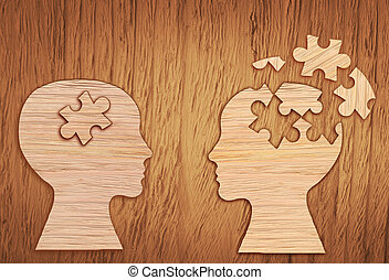 Human head silhouette, mental health symbol. Puzzle. - Human...