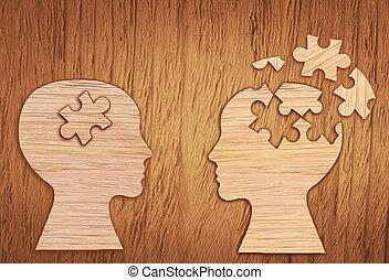 Human head silhouette, mental health symbol. Puzzle. - Human...