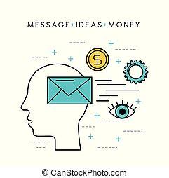 human head silhouette message ideas money solution