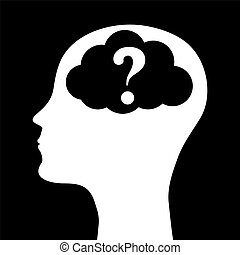 Human head silhouette with a question mark