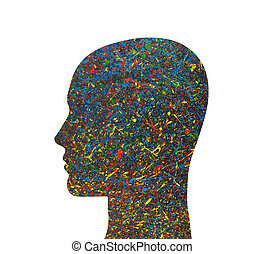 Human head silhouette with colorful watercolor splashes