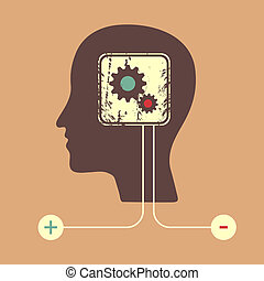 Human head silhouette with gears icon as a brain - idea and ...