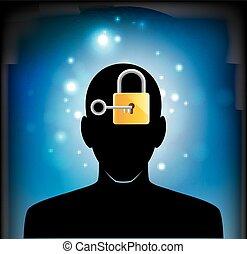 human head silhouette with key
