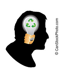 Human head silhouette with recycling sign