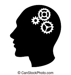 Human head silhouette with set of gears as a brain - idea and innovation concept. Vector.
