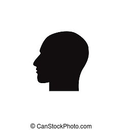 Human head symbol on white background