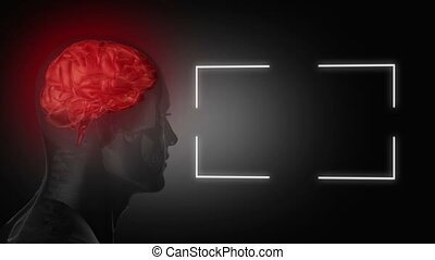 Human head turning next to a screen - Animation of human ...