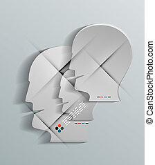 Human head vector 3d paper design