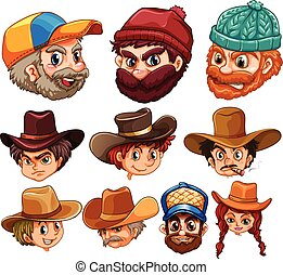 Human head wearing hats illustration