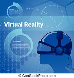 Human Head Wearing Vr Glasses Virtual Reality Background With Copy Space