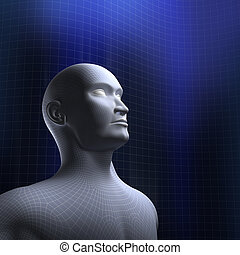 Human head wire model and blue