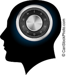 Human head with a combination lock