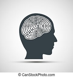Human head with a labyrinth.