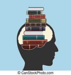 Human head with a stack of books inside.