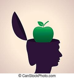 Human head with apple