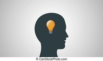 Human head with big idea HD animation