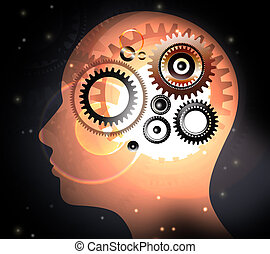 Human head with brain concepts - Human head and brain gears...