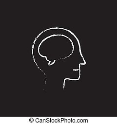 Human head with brain icon drawn in chalk.